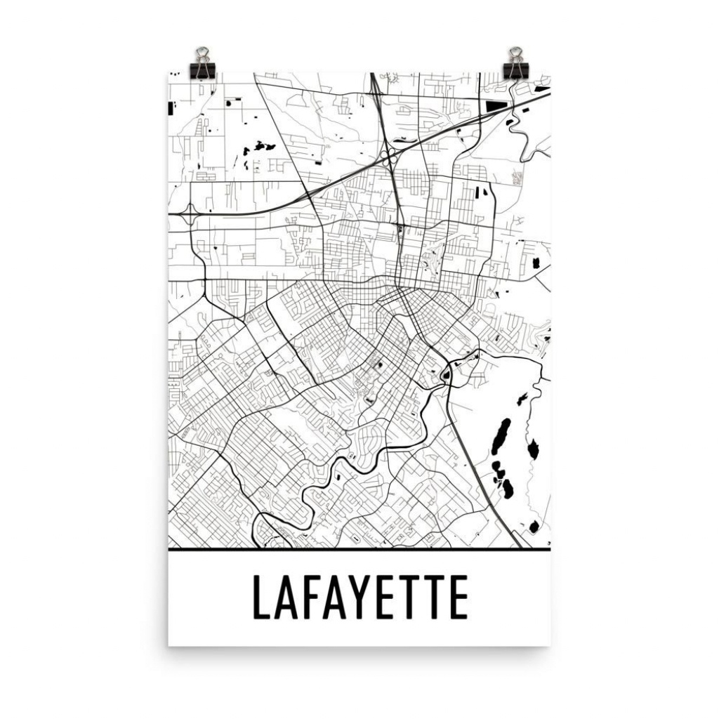 Lafayette Map Lafayette La Art Lafayette Print Lafayette   Etsy - Printable Map Of Lafayette La