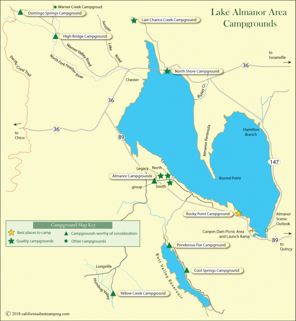 Lake Almanor Area Campground Map - California's Best Camping - Southern California Campgrounds Map