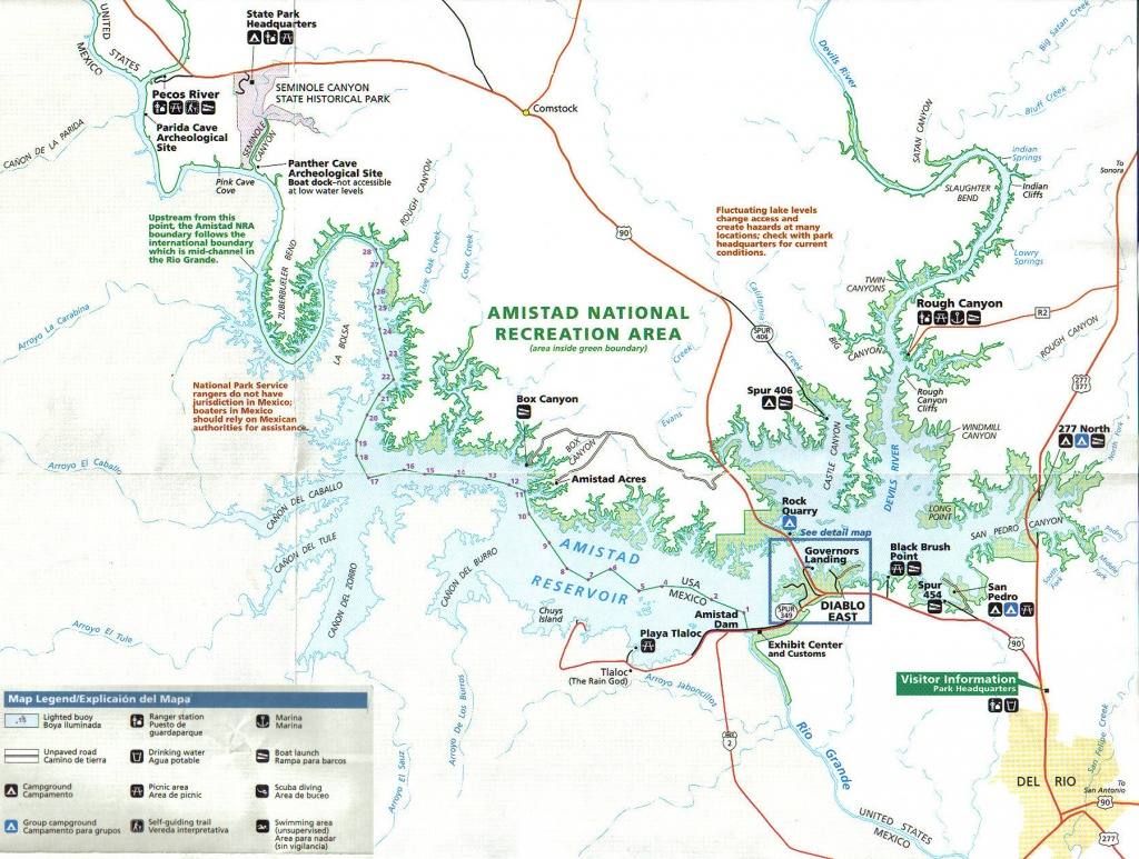 Lake Amistad Information Fishing Guide Kurt Dove - Top Spot Fishing Maps Texas