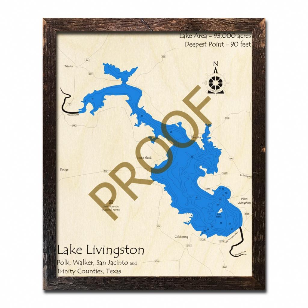 Lake Livingston, Texas 3D Wooden Map | Framed Topographic Wood Chart - Map Of Lake Livingston Texas