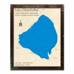 Lake Okeechobee, Fl Nautical Wood Maps   Fishing Map Of Lake Okeechobee Florida