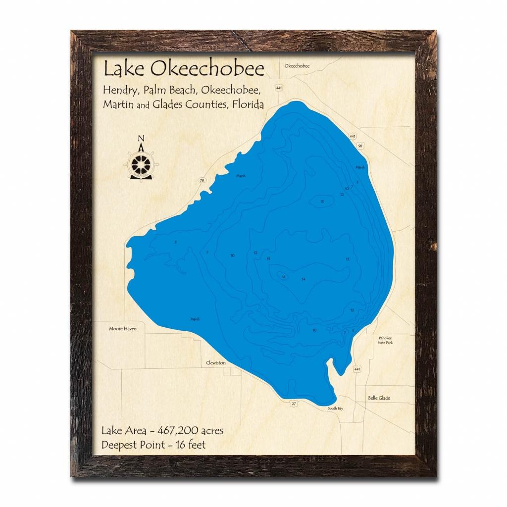 Lake Okeechobee, Fl Nautical Wood Maps - Fishing Map Of Lake Okeechobee Florida