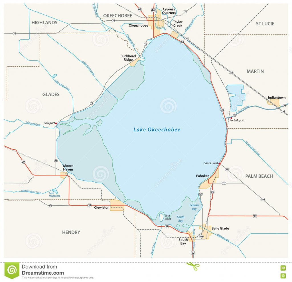 Lake Okeechobee Map Stock Illustration. Illustration Of America - Lake Okeechobee Florida Map