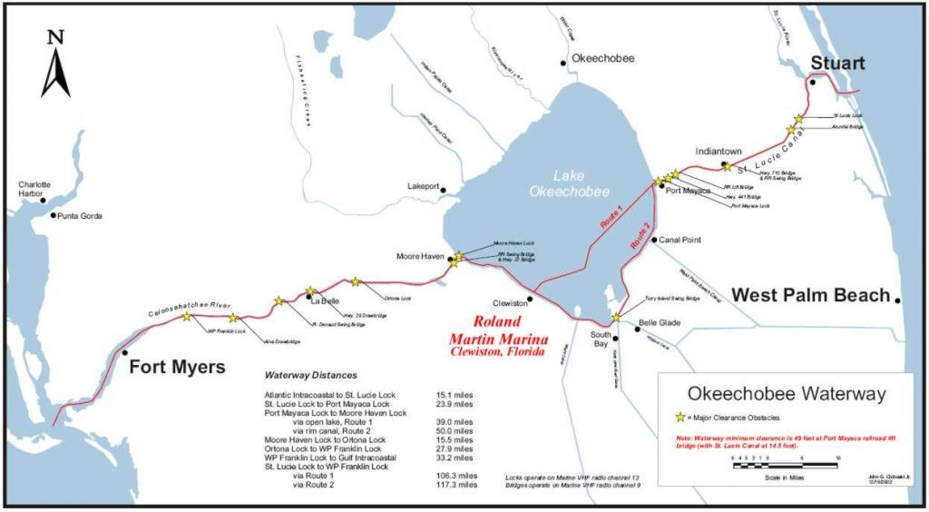 Lake Okeechobee Waterway Locks | Roland Martin Marina - Fishing Map Of Lake Okeechobee Florida