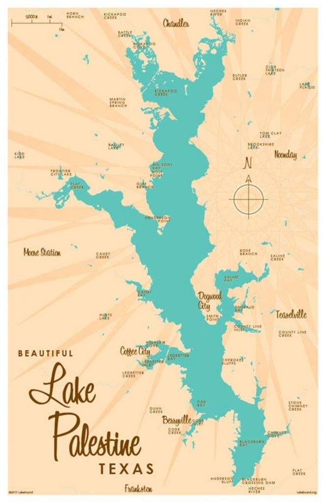 Lake Palestine Tx Map Art Print | Etsy - Palestine Texas Map