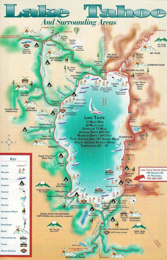 Lake Tahoe Map | California ~ Things To Do | Lake Tahoe Map, Lake - Map Of Lake Tahoe Area California