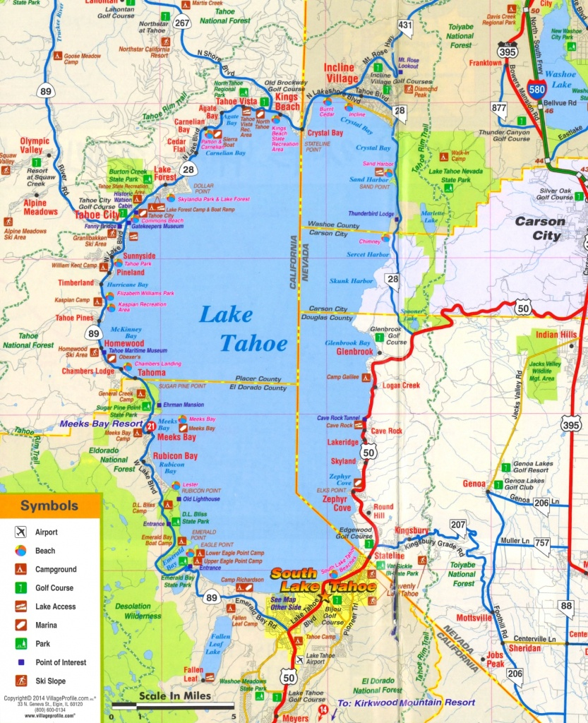 Lake Tahoe Tourist Attractions Map - Printable Map Of Lake Tahoe