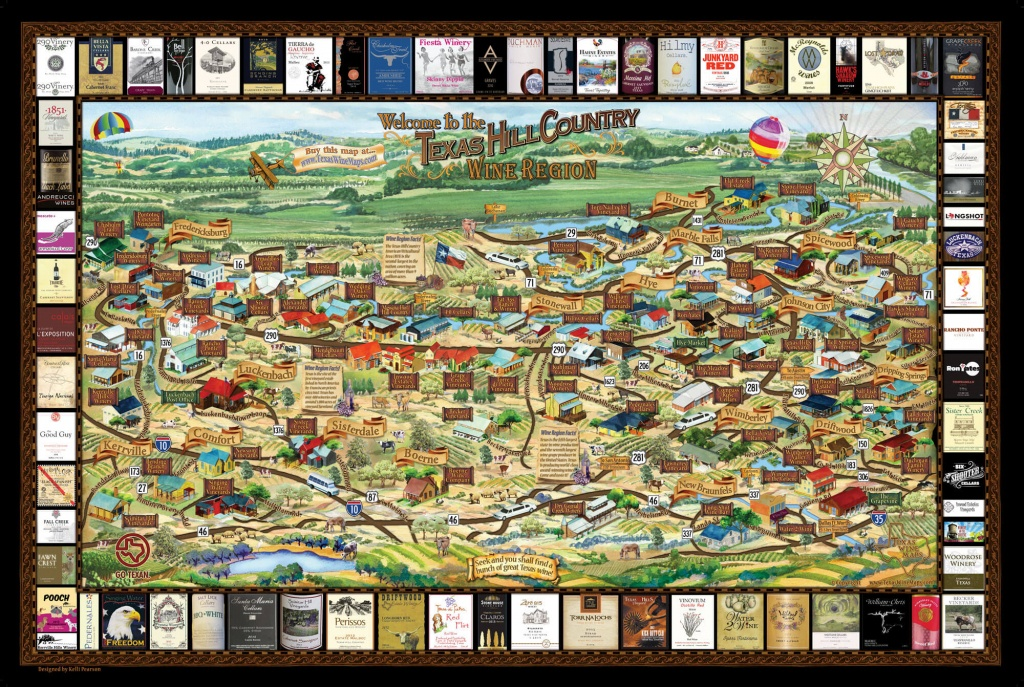 Laminated Texas Wine Map   Texas Wineries Map  Texas Hill Country - Hill Country Texas Wineries Map
