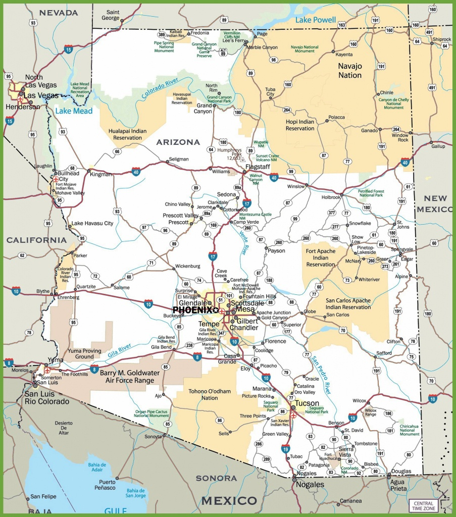 Large Arizona Maps For Free Download And Print | High-Resolution And - Printable Map Of Tucson Az