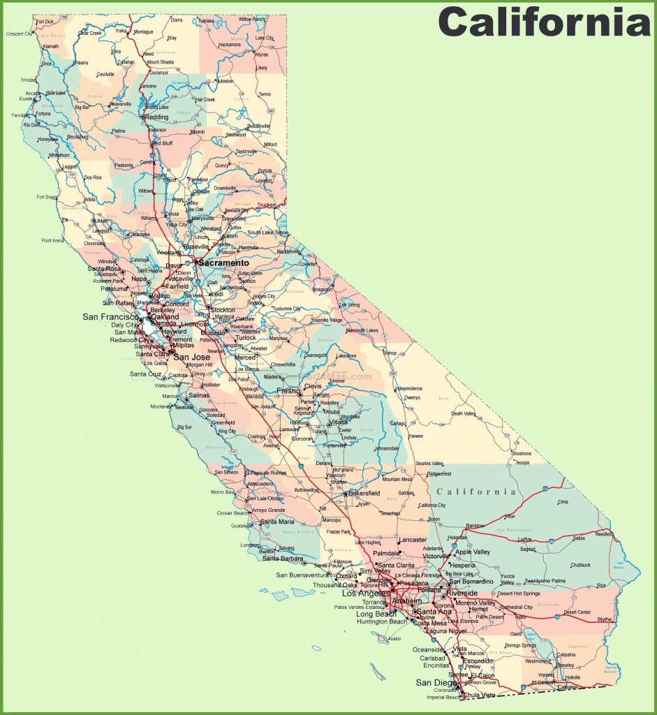 Large California Maps For Free Download And Print | High-Resolution - California Road Map Free