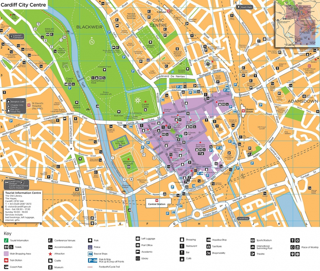 Large Cardiff Maps For Free Download And Print   High-Resolution And - Printable Map Of Cardiff