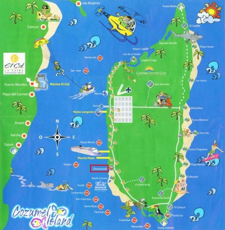 Printable Map Of Cozumel Mexico