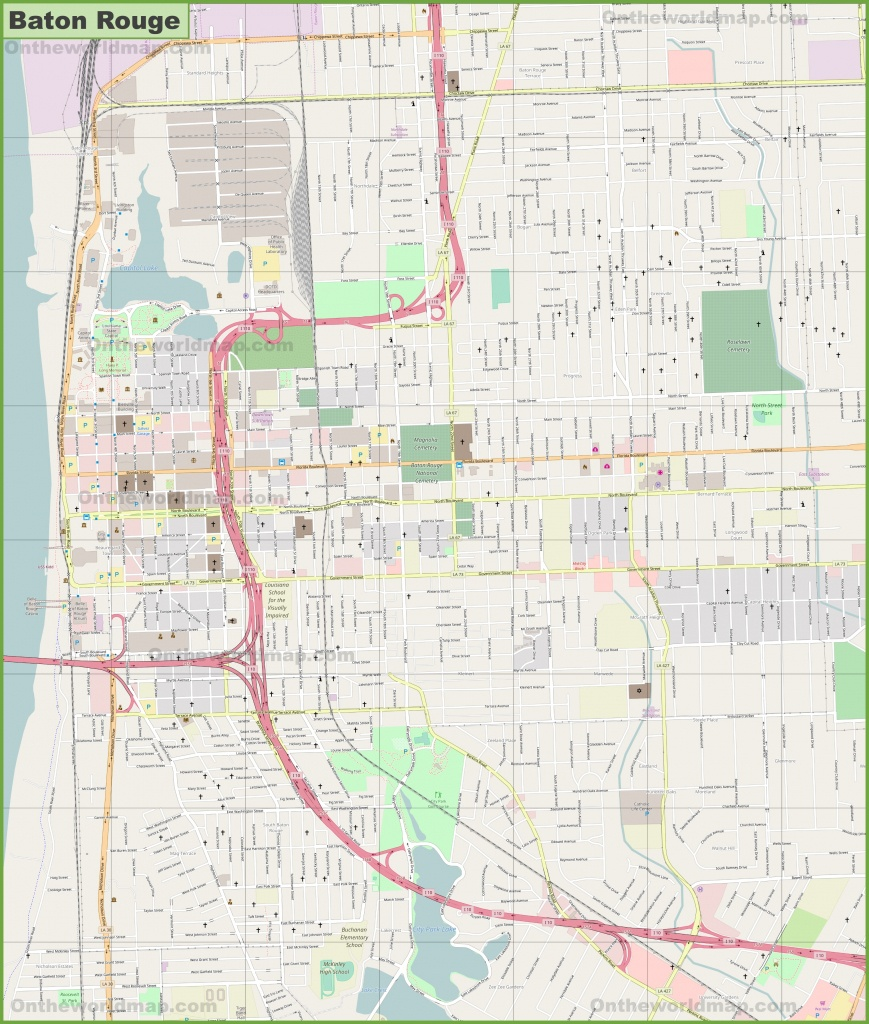 Large Detailed Map Of Baton Rouge - Printable Map Of Baton Rouge