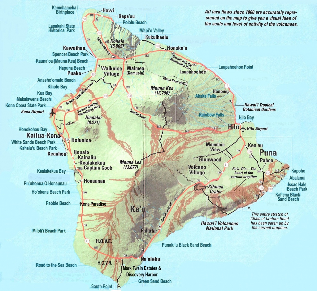 Large Detailed Map Of Big Island Of Hawaii With Roads And Cities - Big Island Map Printable