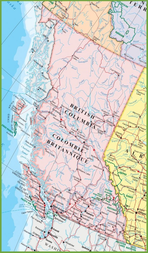 Large Detailed Map Of British Columbia With Cities And Towns - Printable Road Map Of Canada
