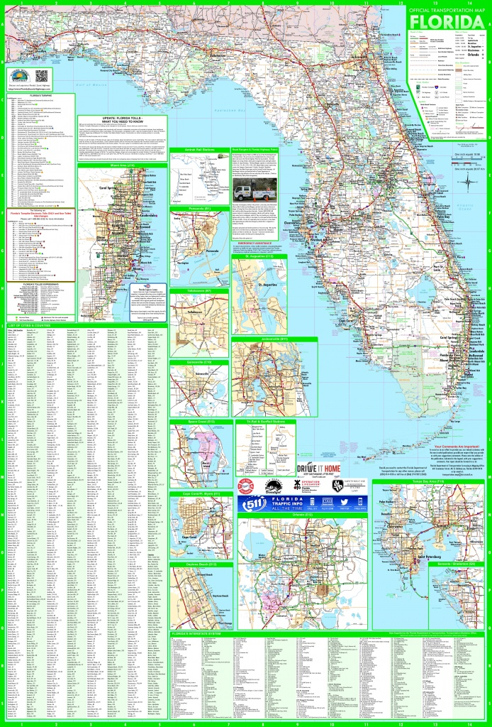 Large Detailed Map Of Florida With Cities And Towns - Large Map Of Florida
