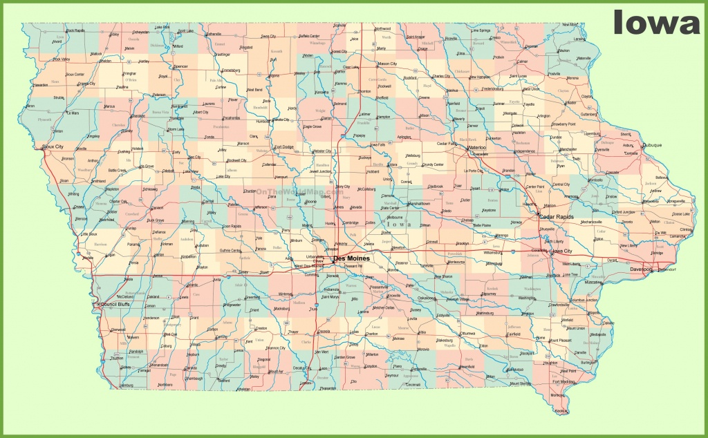Large Detailed Map Of Iowa With Cities And Towns - Printable Map Of Alaska With Cities And Towns