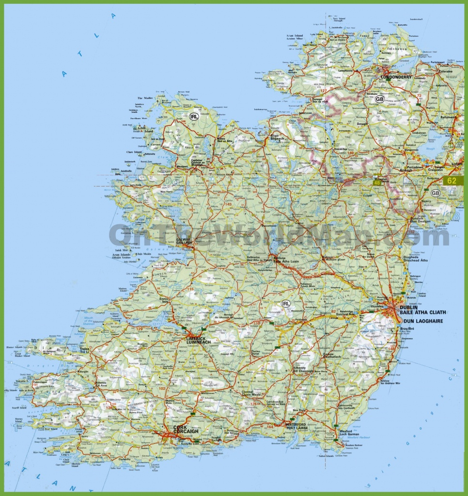Large Detailed Map Of Ireland With Cities And Towns - Printable Map Of Ireland Counties And Towns