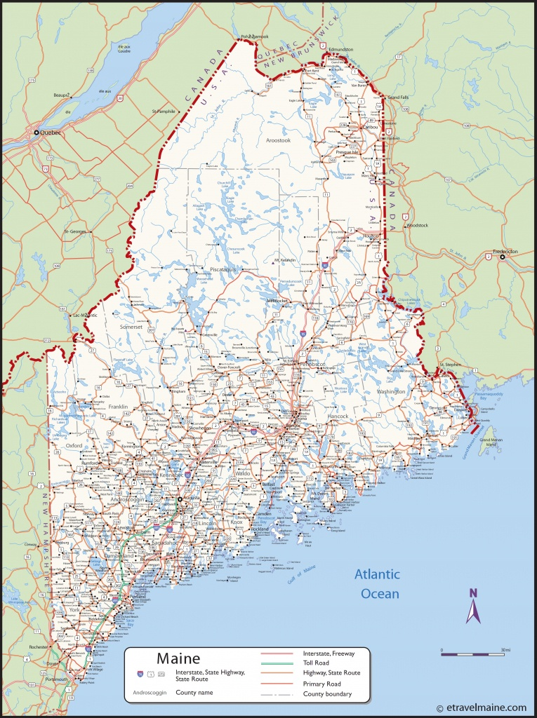 Large Detailed Map Of Maine With Cities And Towns - Maine State Map Printable