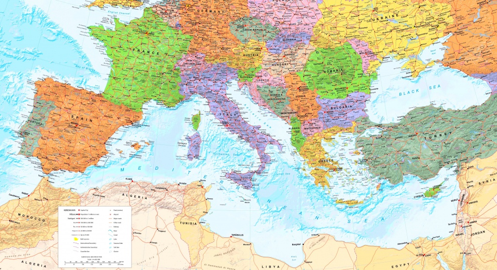 Large Detailed Map Of Mediterranean Sea With Cities - Printable Map Of The Mediterranean Sea Area