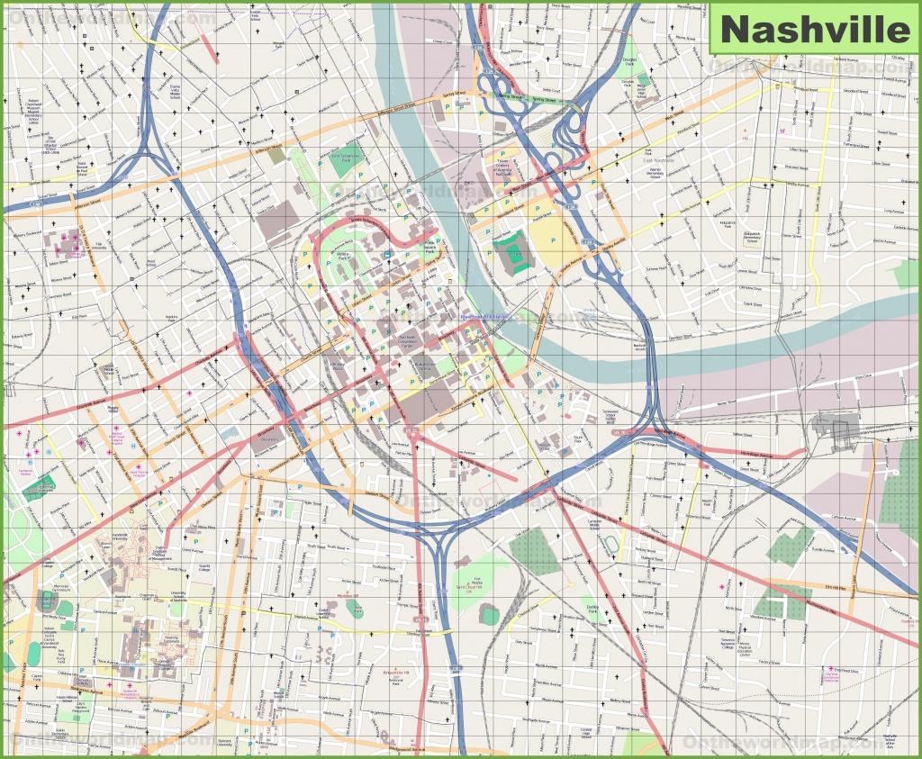 Large Detailed Map Of Nashville - Printable Map Of Nashville Tn