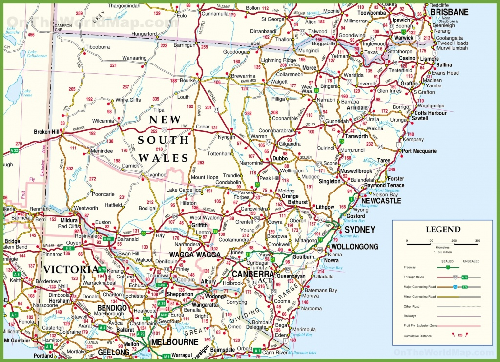 Large Detailed Map Of New South Wales With Cities And Towns - Printable Map Of Nsw