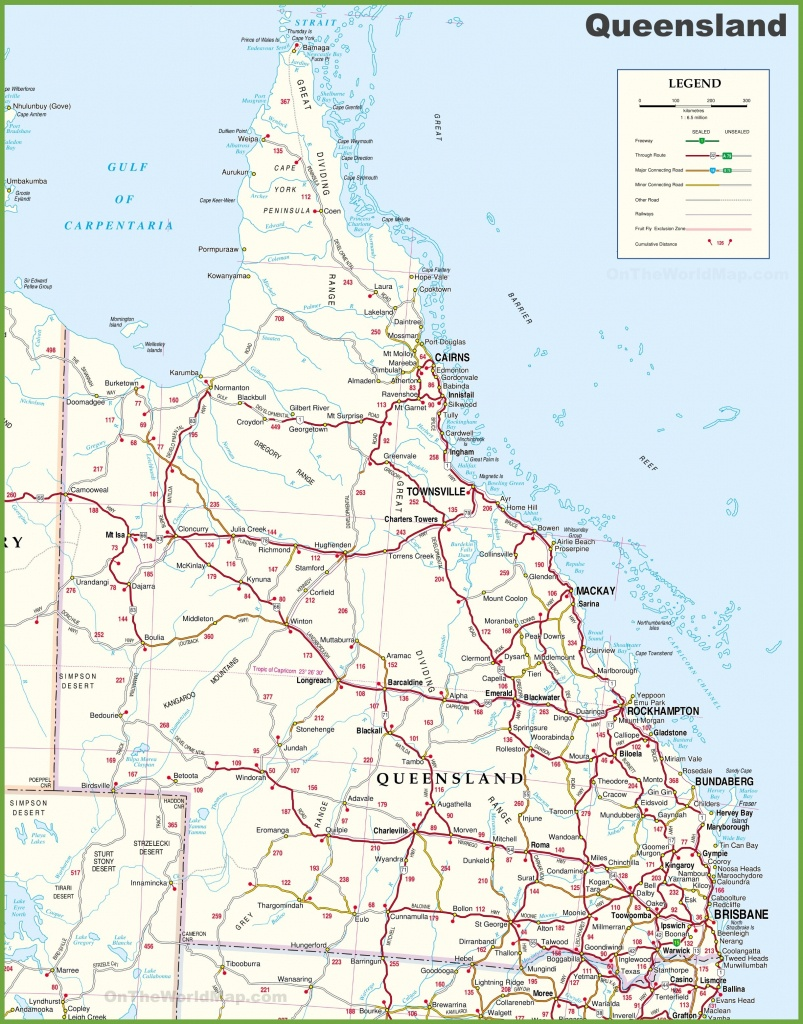 Large Detailed Map Of Queensland With Cities And Towns Road - Queensland Road Maps Printable