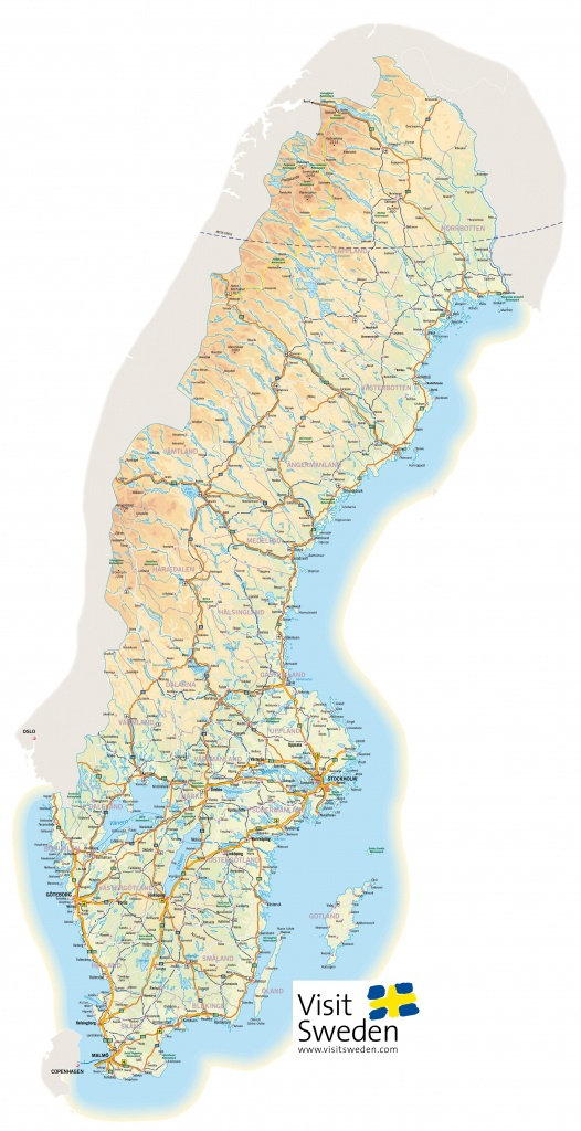 Large Detailed Map Of Sweden With Cities And Towns - Printable Map Of Sweden