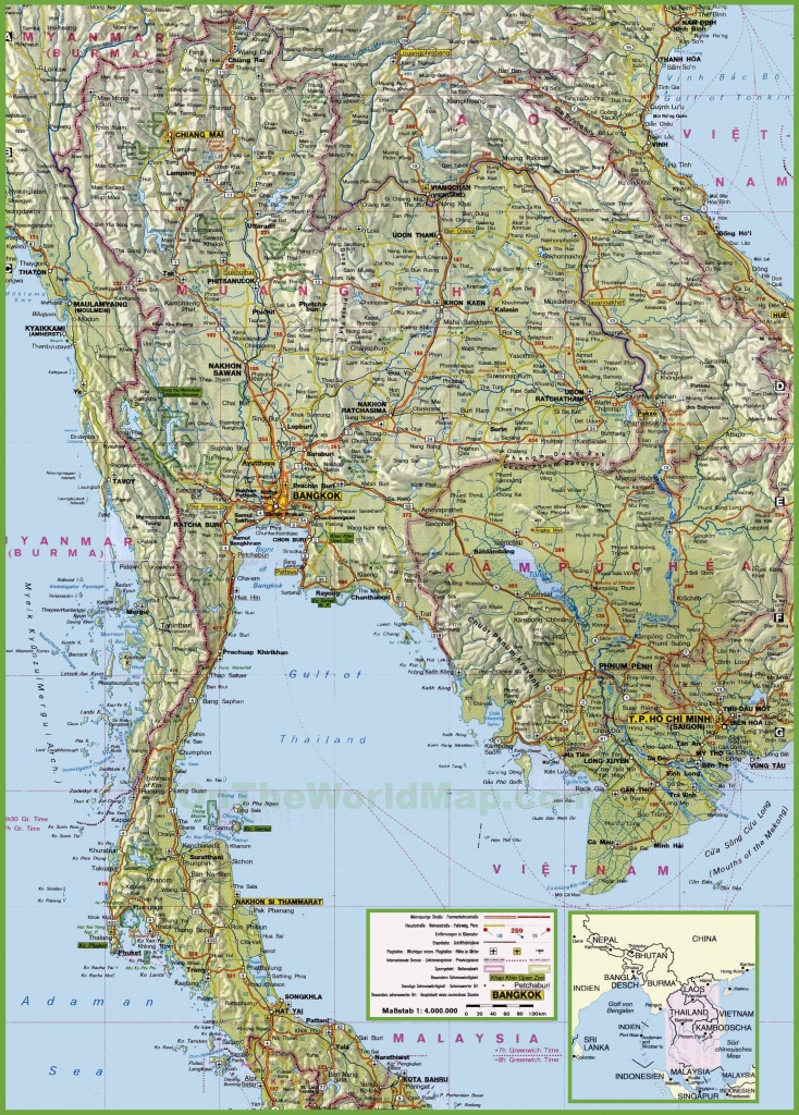 Large Detailed Map Of Thailand With Cities And Towns - Printable Map Of Thailand