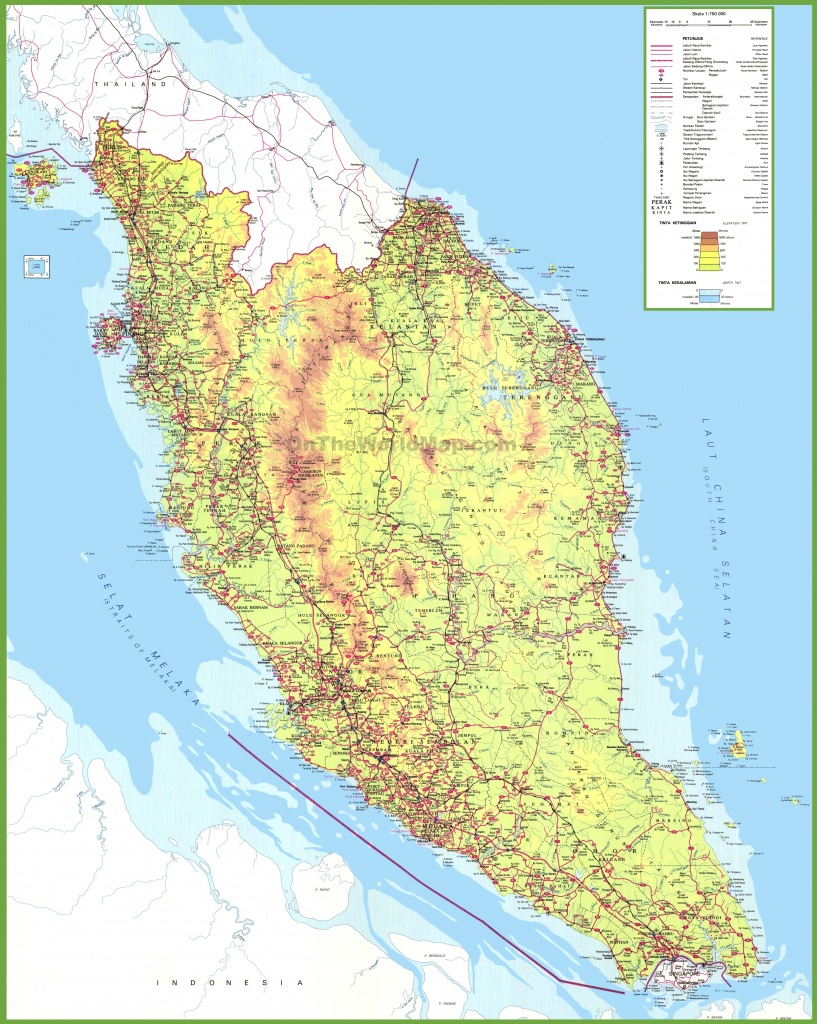 Large Detailed Map Of West Malaysia - Printable Map Of Malaysia