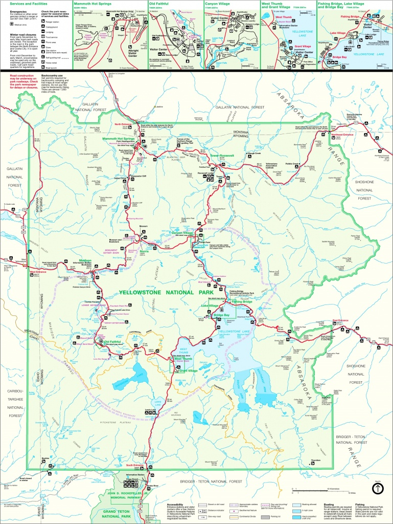 Large Detailed Map Of Yellowstone - Printable Map Of Yellowstone