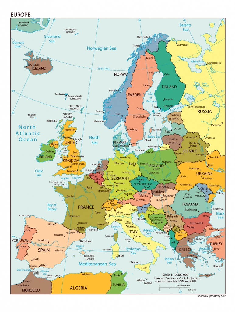 Large Detailed Political Map Of Europe With All Capitals And Major - Printable Map Of Europe With Countries And Capitals