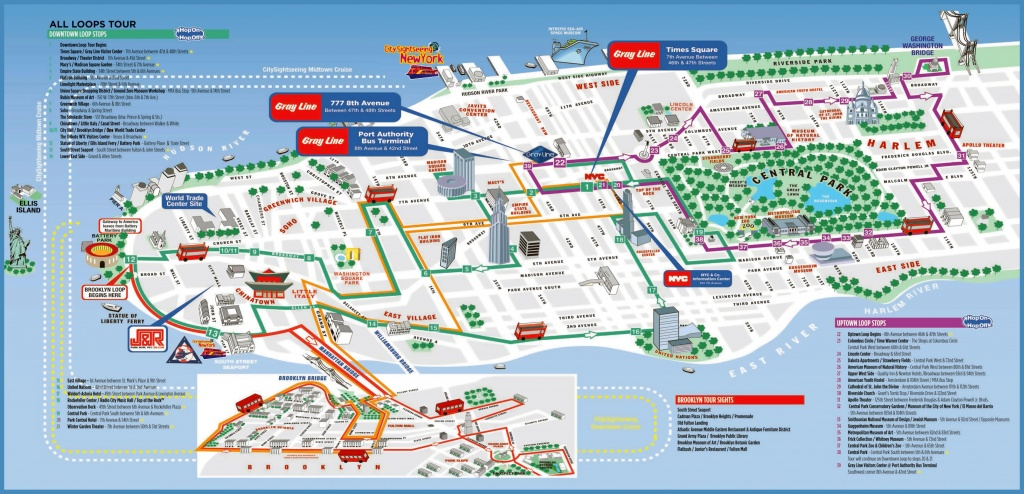 Large Detailed Printable Tourist Attractions Map Of Manhattan, New - Printable Map Of Manhattan Nyc