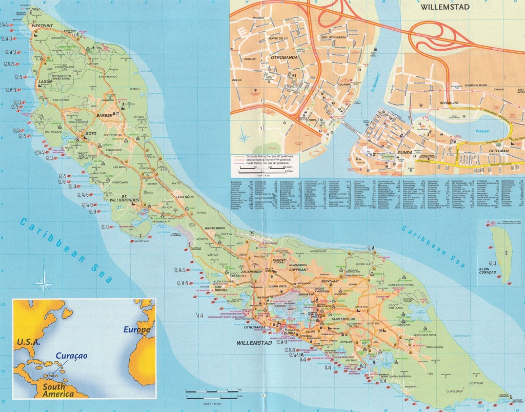 Large Detailed Road Map Of Curacao Island, Netherlands Antilles - Printable Road Map Of St Maarten