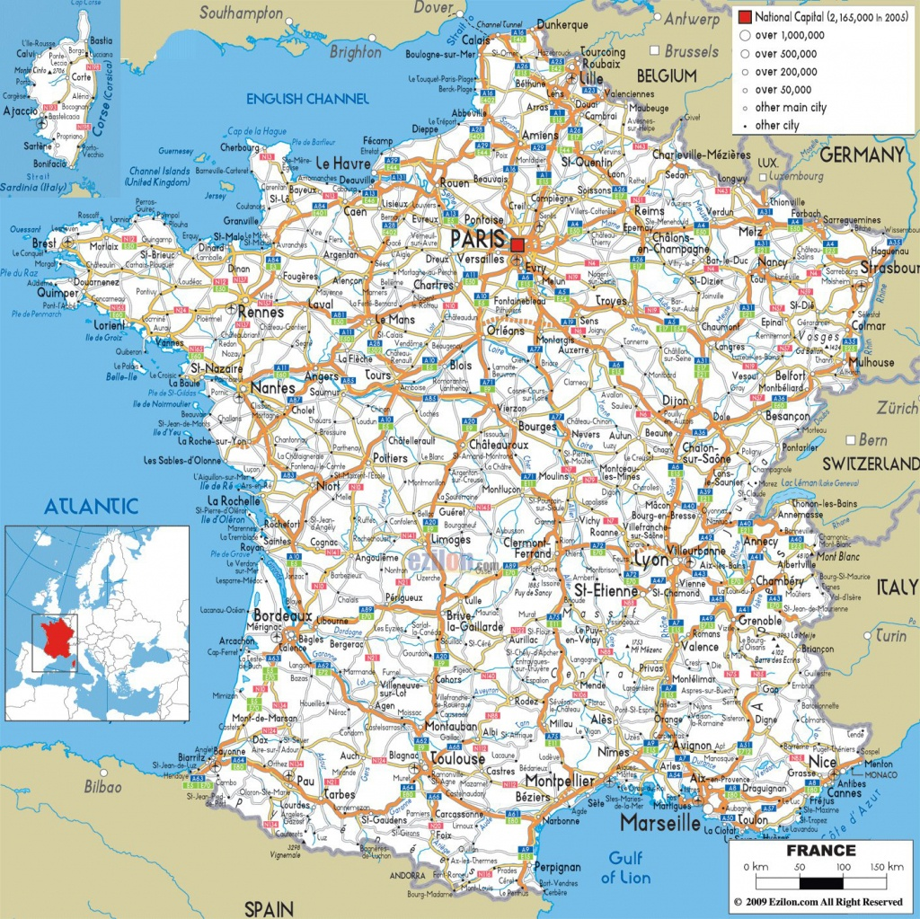 Large Detailed Road Map Of France With All Cities And Airports - Printable Map Of France With Cities