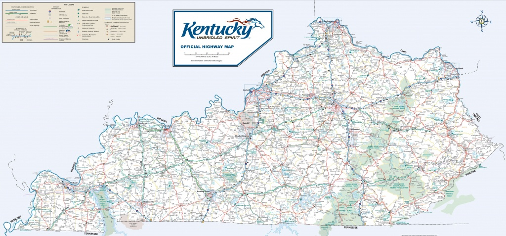 Large Detailed Road Map Of Kentucky - Printable Map Of Kentucky Counties