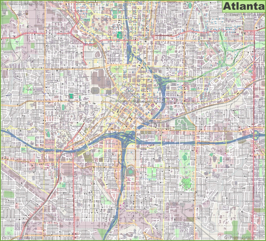 Large Detailed Street Map Of Atlanta - Printable Map Of Atlanta
