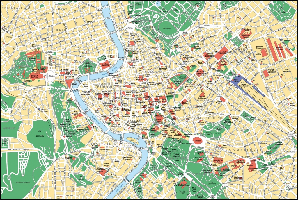 Large Detailed Street Map Of Rome City Center. Rome City Center - Street Map Rome City Centre Printable
