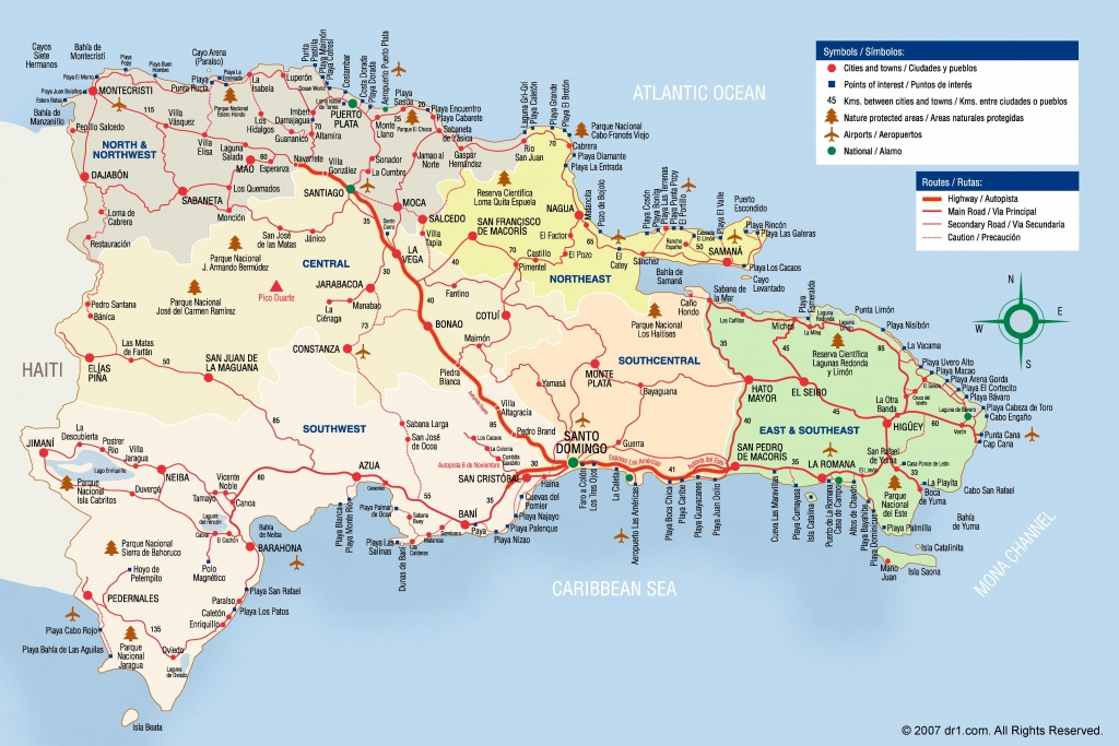Large Detailed Tourist Map Of Dominican Republic - Printable Map Of Dominican Republic