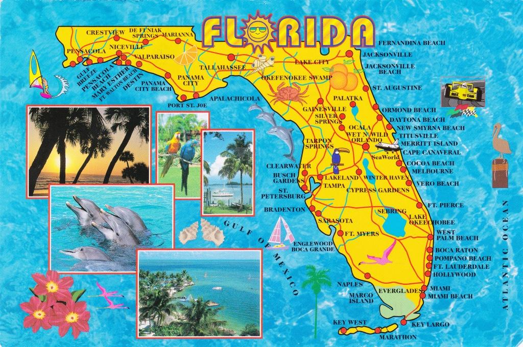 Large Detailed Tourist Map Of Florida State | Vidiani | Maps Of - Florida State Map Printable