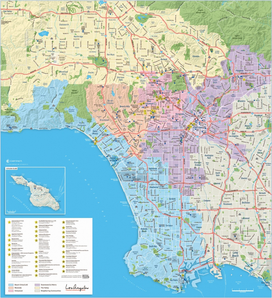 Large Detailed Tourist Map Of Los Angeles - Map Of Los Angeles California Area