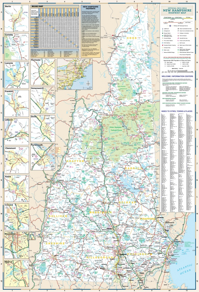 Large Detailed Tourist Map Of New Hampshire With Cities And Towns - Printable Road Map Of New Hampshire