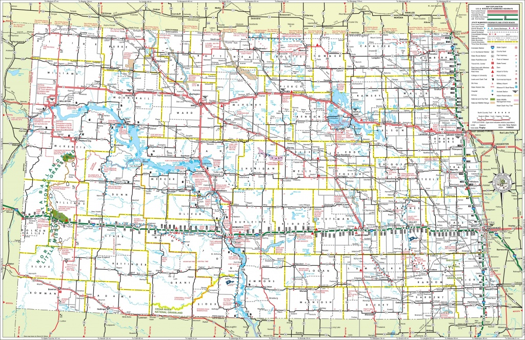 Large Detailed Tourist Map Of North Dakota With Cities And Towns - Printable Map Of North Dakota