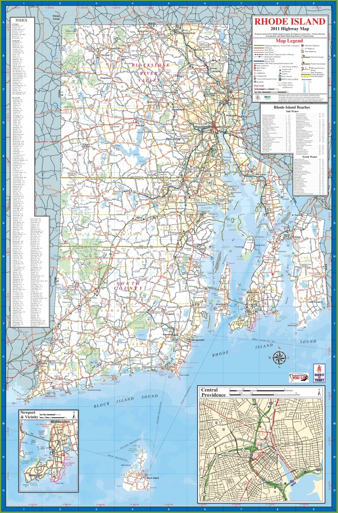 Large Detailed Tourist Map Of Rhode Island With Cities And Towns - Printable Map Of Rhode Island