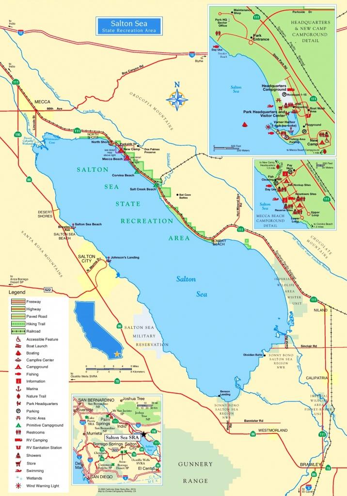 Large Detailed Tourist Map Of Salton Sea - Salton Sea California Map