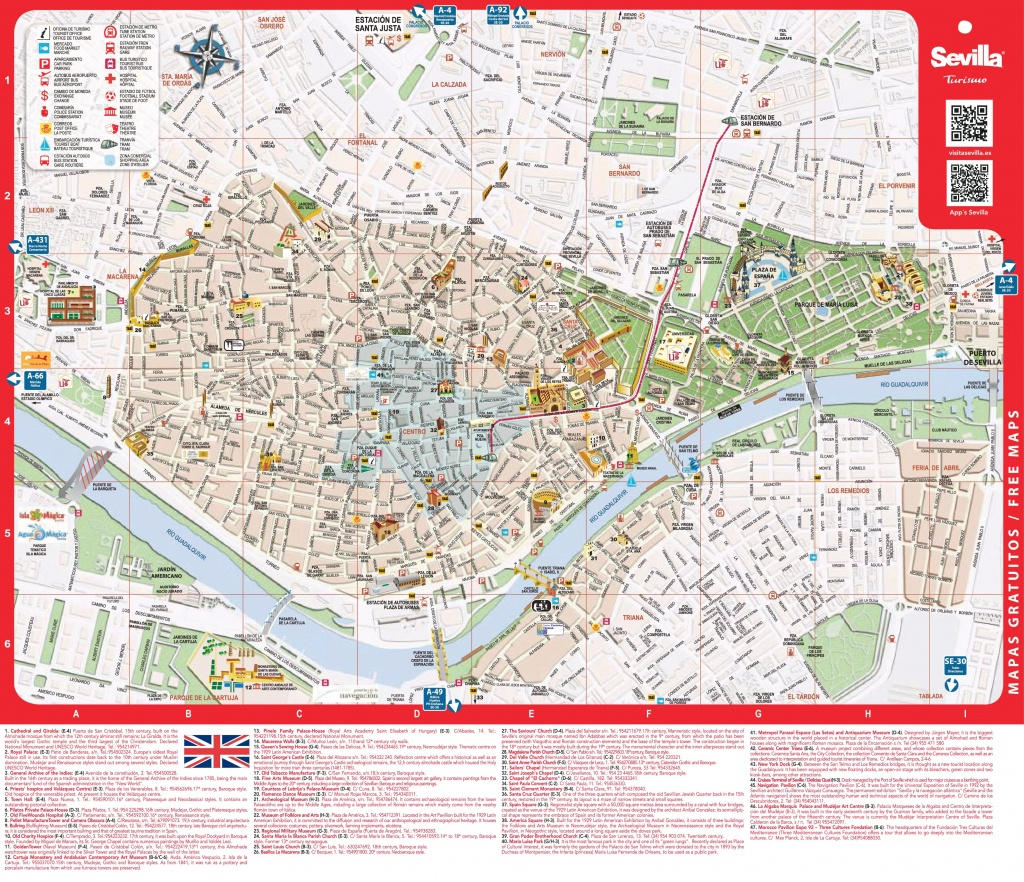 Large Detailed Tourist Map Of Seville - Seville Tourist Map Printable