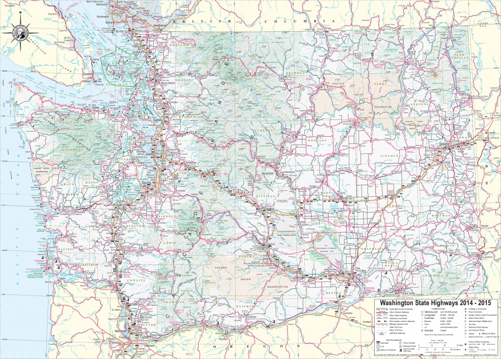 Large Detailed Tourist Map Of Washington With Cities And Towns - Washington State Road Map Printable