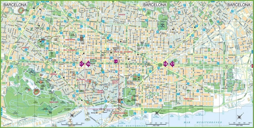 Large Detailed Tourist Street Map Of Barcelona - Barcelona Street Map Printable