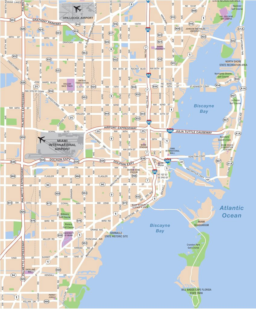 Large Miami Maps For Free Download And Print   High-Resolution And - Miami City Map Printable