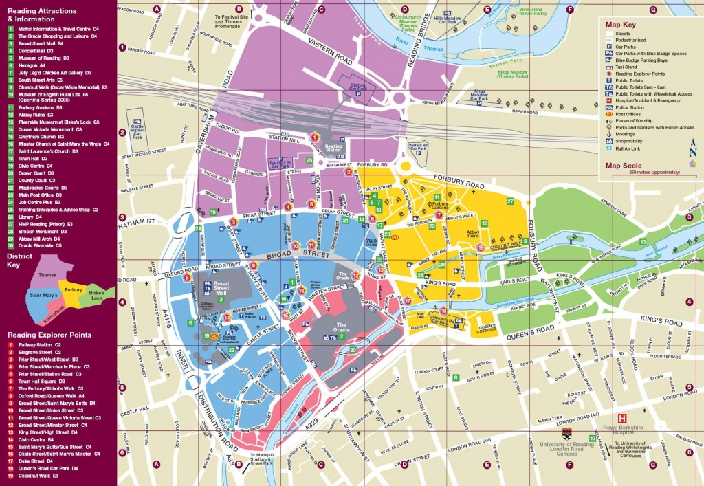 Large Reading Maps For Free Download And Print   High-Resolution And - Oxford Tourist Map Printable